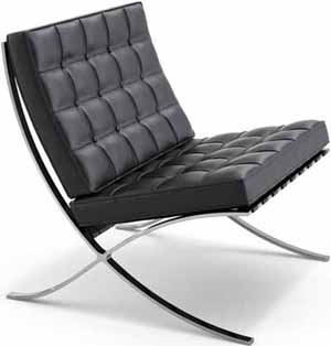 Barcelona chair designed by Ludwig Mies van der Rohe (1929).