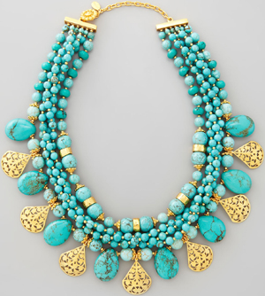 José & Maria Barrera Multi-Strand Turquoise & Gold Plate Necklace: US$715.