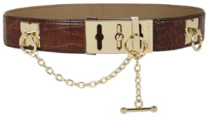 BCBG Croco-Embossed Toggle Waist Women's Belt: US$98.
