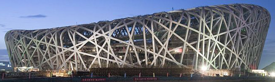 Beijing National Stadium (colloquially known as the Bird's Nest) by Herzog & De Meuron (2008).