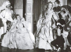 Paul-Louis Weiller, Madame Mallard, Lady Diana Cooper, Baron de Cabrol and Madame Hersent at Le Bal oriental on September 3, 1951 at the Palazzo Labia.
