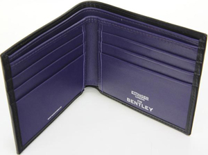 Bentley Ettinger Leather Billfold Black/Purple Men's Wallet: £120.