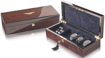 Bentley Collection Anthony Holt 3 Watch Valet Box Walnut: US$1,800.
