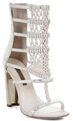 BCBG Post High-Heel Macrame Day Sandal: US$375.