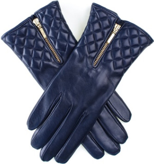 Black Navy Leather Quilted Women's Gloves with Cashmere Lining: £89.