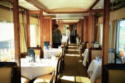 Interior of the dining car of the Blue Train (South Africa).