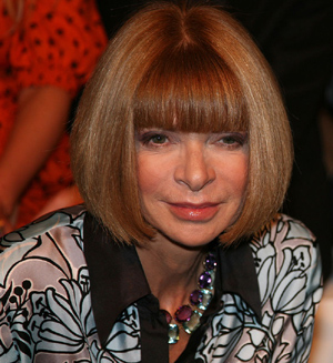 Anna Wintour with a bob haircut and a fringe/bangs.