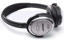 Bose QuietComfort 3 Acoustic Noise Cancelling headphones.