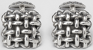 Bottega Veneta Intrecciato Antique Silver Cufflinks.