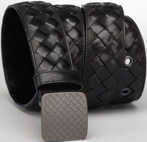 Bottega Veneta Nero Intrecciato Waxed Vitello Laque Belt: US$690.