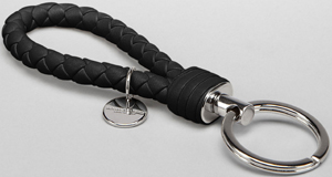 Bottega Veneta Nero Intrecciato Nappa Men's Key Ring: US$200.