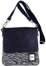 Roberto Botticelli men's small bag in logoed fabric with insert in leather: €205.