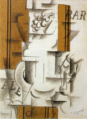 Fruit Dish and Glass (papier collé) (1912) by Georges Braque.