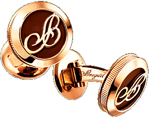 Breguet 18-carats pink gold and enamel, with the 'B' of Breguet and fluted caseband cufflinks.