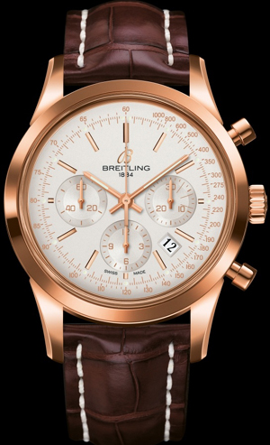 Breitling Transocean Selfwinding chronograph. 18K red gold case.