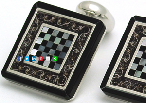 Bromleys Roman Onyx and Chess Mother of Pearl Cufflinks: £75.