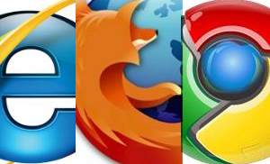 The three top web browsers: Internet Explorer, Firefox & Chrome.
