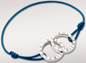 Bulgari bracelet in sterling silver and Prussian blue cotton fabric: US$320.
