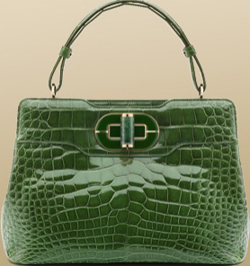 Bvlgari Medium 'I. Rossellini' in Shiny Alligator Aruba Green Handbag: US$24,900.