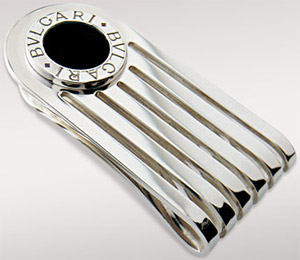 Bvlgari money clip in sterling silver with black onyx: US$380.