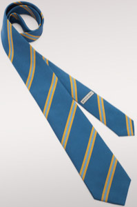 Bvlgari dusty blue 'Regimental Bulgari' pattern seven-folds tie in fine jacquard silk: US$255.