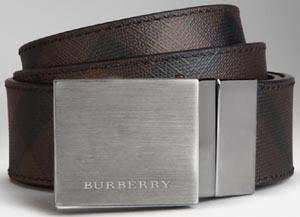 Burberry Smoked Check Reversible Leather Plaque Men's Belt: US$335.