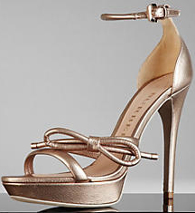 Burberry Metallic Leather Platform Sandals: US$550.