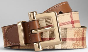 Burberry Haymarket Check Women's Belt: US$375.