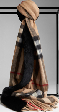 Burberry Rabbit Fur Trim Cashmere Women's Scarf: US$995.