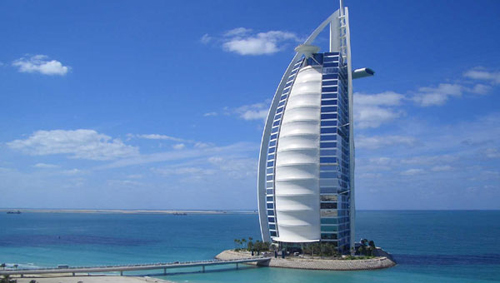 World's only 7-star hotel: Burj Al Arab, Dubai.
