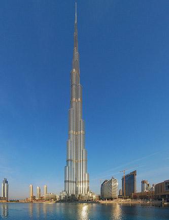 World's tallest building: Burj Khalifa (828 meters / 2,717 feet).