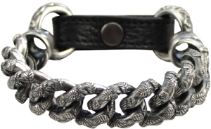 Ugo Cacciatori women's silver leather bracelet: €975.