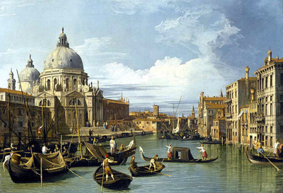 The Grand Canal and the Church of the Salute, painted 1730 by Canaletto.