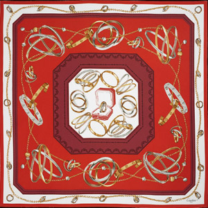 Cartier scarf 90 x 90 cm with intertwined jewels motif.