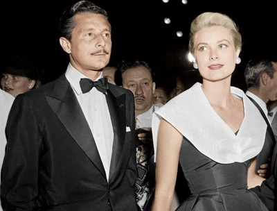 Oleg Cassini and Grace Kelly at the premiere of Alfred Hitchcock's <i>Rear Window</i>, 1954 - two years before she married Prince Rainier. Cassini later said, 'Grace told me she would rather be a princess than a countess.'.