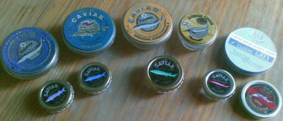 Russian and Iranian caviar tins: Beluga to the left, Ossetra in middle, Sevruga to the right.