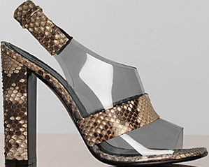 Céline 115 mm Optic Sling Back Sandal in Natural Python & Neutral Vinyl.