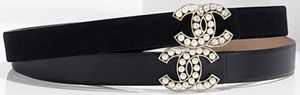 Chanel women's goatskin leather belt embellished with a strassed and glass pearl.