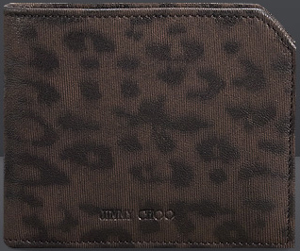 Jimmy Choo Albany Brown Folded Leopard Laser Print Leather Men's Wallet £325.
