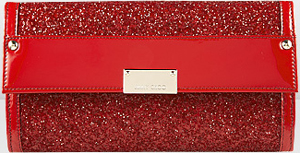 Jimmy Choo Reese Red Coarse Glitter Fabric Wallet: £395.