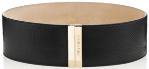 Jimmy Choo Black Waxed Python Waist Women's Belt: US$895.