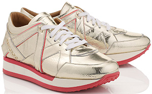 Jimmy Choo Light Gold Embossed Mirror Leather and Geranium Neon Nappa Mix Trainers: US$750.