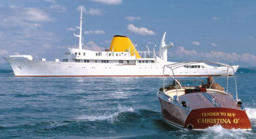 Aristotle Onassis' legendary, now restored, luxury yacht Christina O.