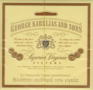 George Karelias and Sons' classic Virginia tobacco cigarettes.