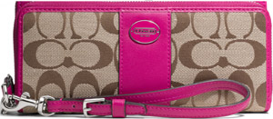 Coach Legacy Double Zip Accordion Zip women's wallet in signature fabric: US$238.