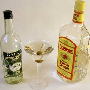 Dry Martini ingredients.