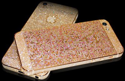 The Adamas & Aurora Collection of bejeweled iPhones 5s by Continental mobiles.