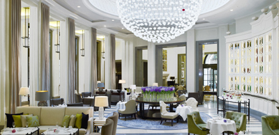 Afternoon tea at The Lobby Lounge at Corinthia Hotel, Whitehall Place, London SW1A 2BD, England, U.K.