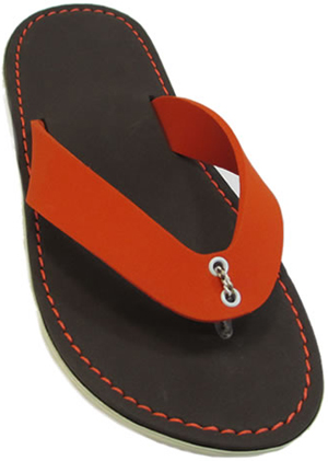 Hytpoallergenic flip flops,non-slip sole,orange color.