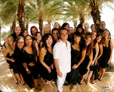 Famed Palm Beach society hairdresser Cosmo DiSchino with his staff. 2511 South Dixie Highway, West Palm Beach, FL 33405, U.S.A.